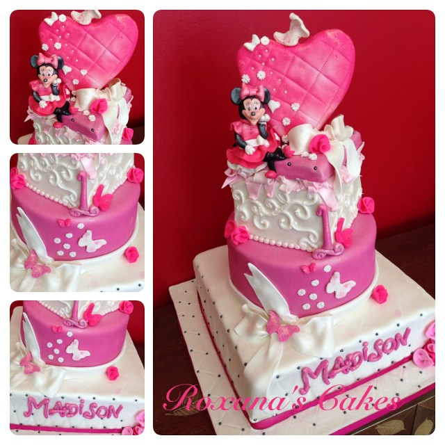 Minnie Mouse Cakes 1St Birthday Baking With Roxanas Cakes 1st Minnie Mouse Themed Birthday Cake