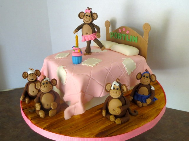 Monkey Birthday Cake 5 Little Monkeys Jumping On The Bed 1st Birthday Cake Rdie