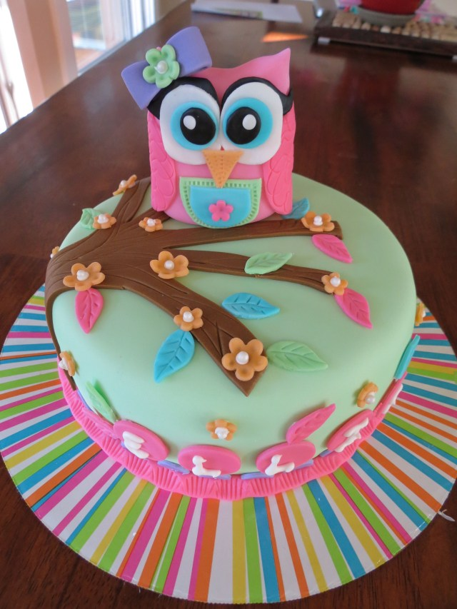 Owl Birthday Cake Custom Girl Themed Owl Cake For First Birthday White Cake With