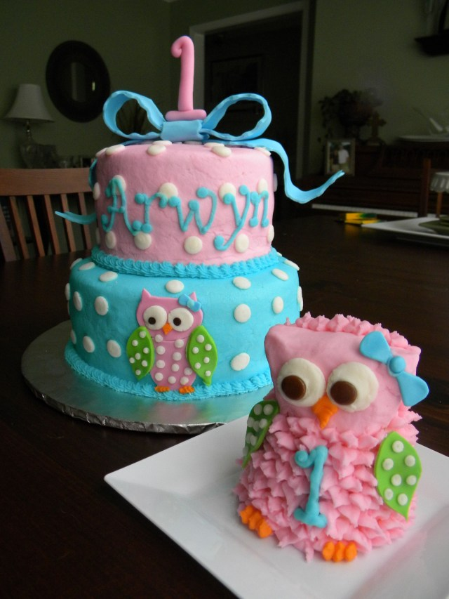 Owl Birthday Cakes Owl 1st Birthday Cake And Smash Cake Gabs First Birthday Party