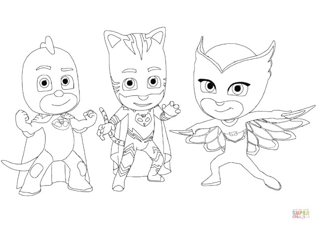 Owlette Coloring Page Gecko Catboy And Owlette Coloring Page Free Printable Coloring Pages
