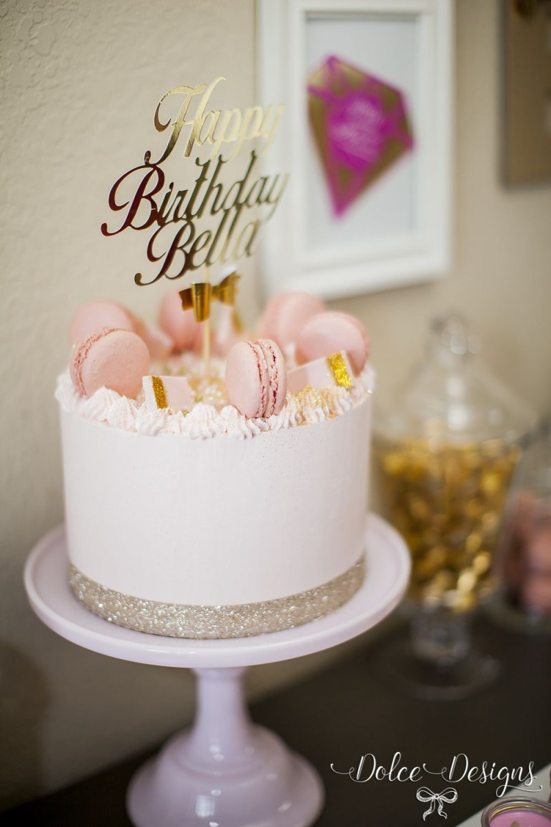 Pink Birthday Cakes Modern And Gold Cake Pinterest
