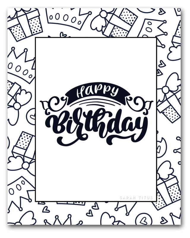 Printable Birthday Coloring Pages Free Printable Happy Birthday Coloring Sheets Sarah Titus