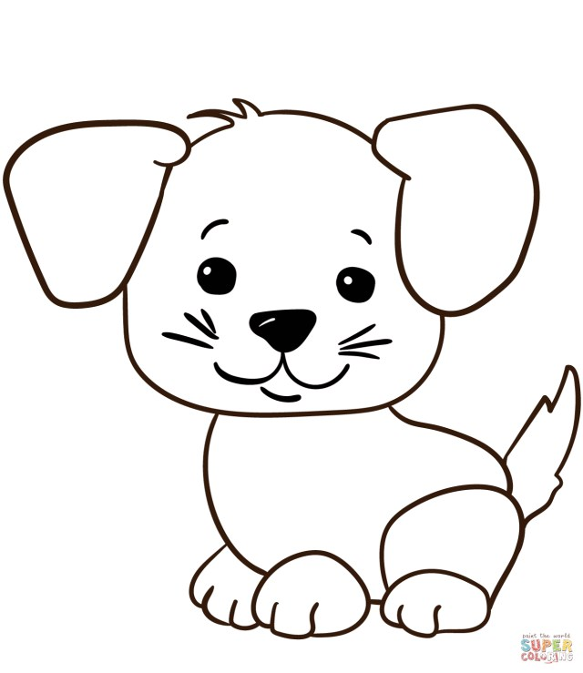 Puppy Coloring Pages Cute Cartoon Puppy Coloring Page Free Printable Coloring Pages