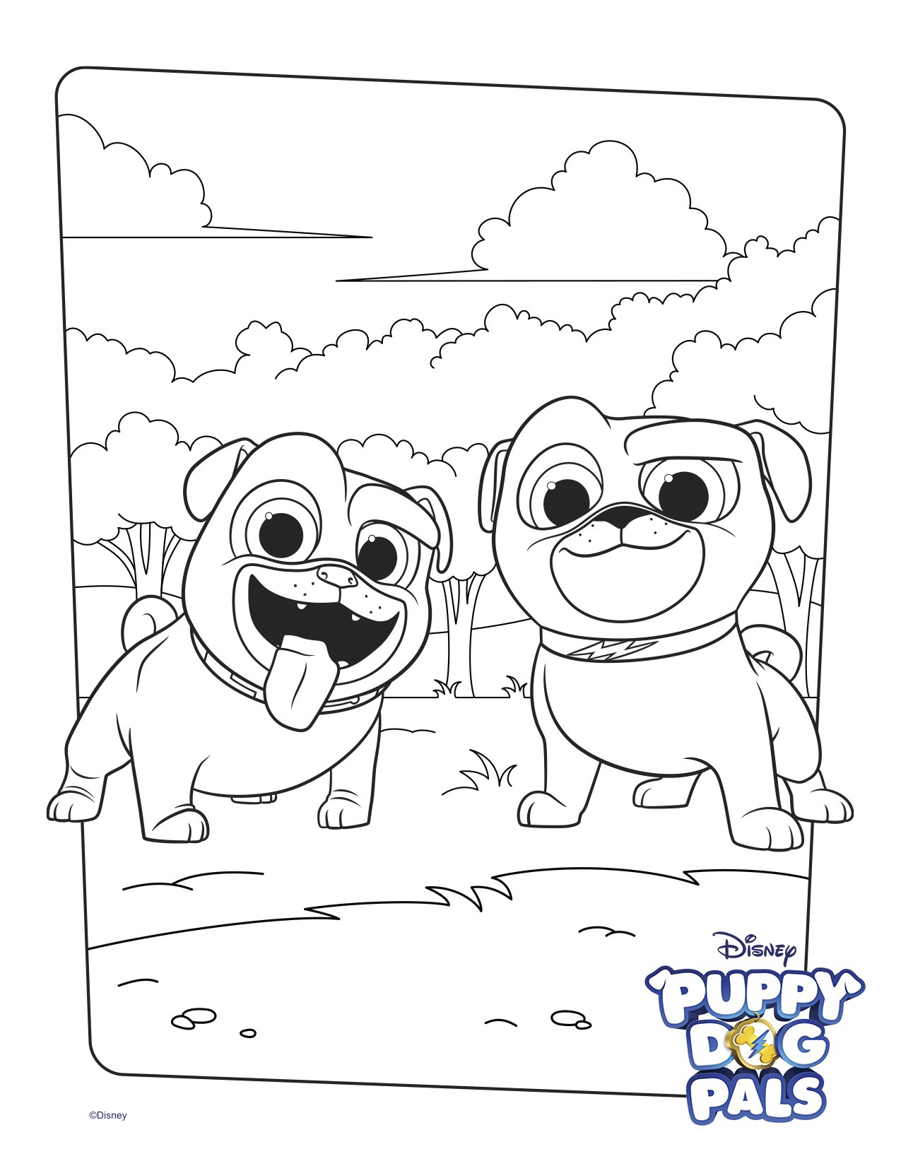 puppy dog coloring pages bingo and rolly coloring page