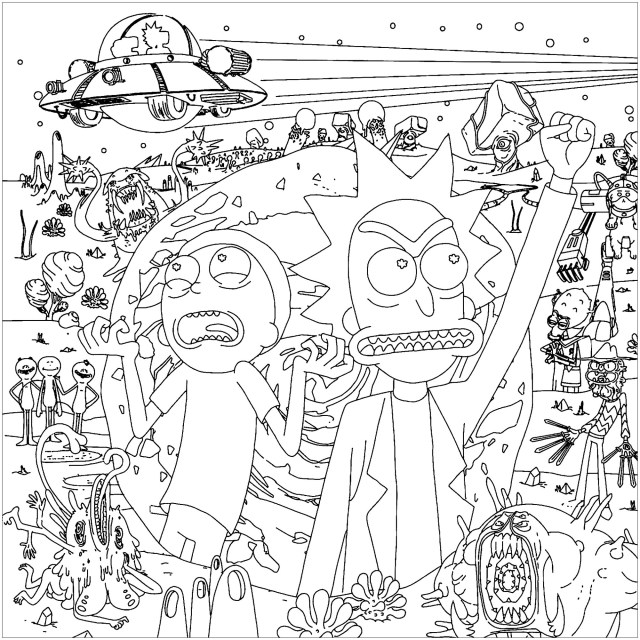 Rick And Morty Coloring Pages Rick And Morty Into The Space Tv Shows Adult Coloring Pages