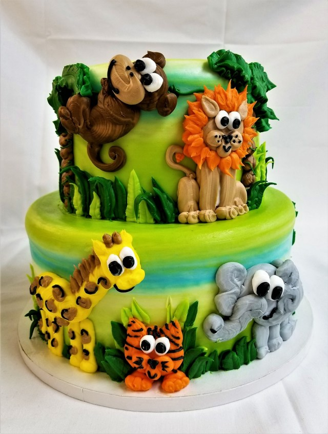 Safari Birthday Cake Safari Animals Celebration Cake From Cinottis Bakery