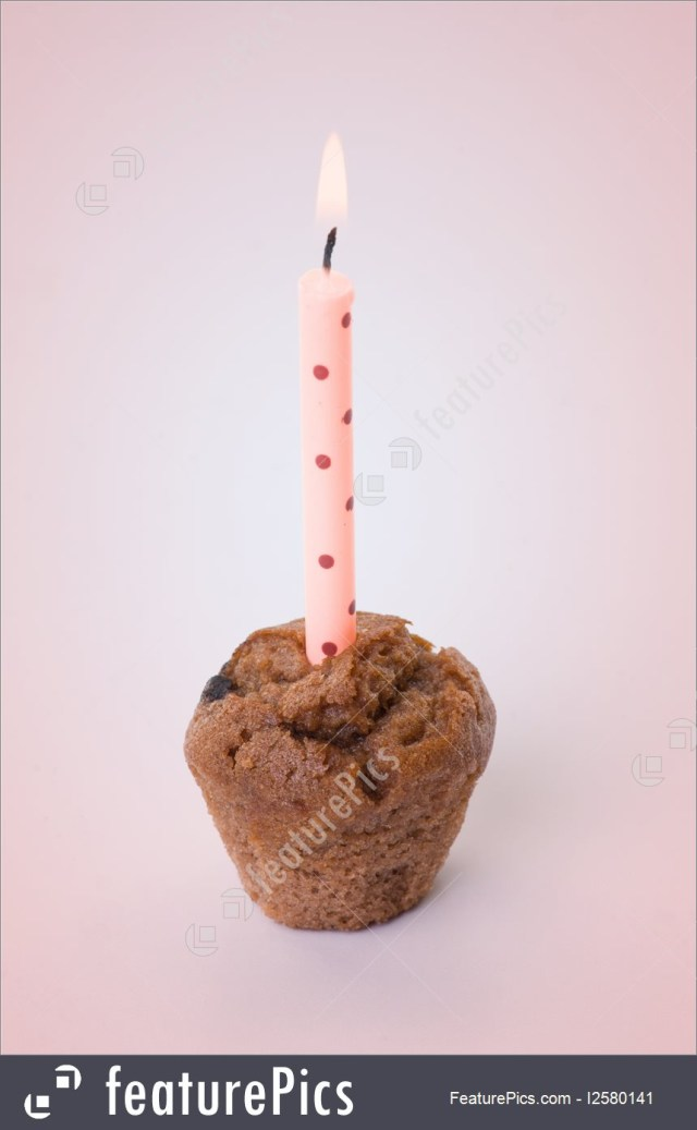 Small Birthday Cakes Celebration Small Birthday Cake With One Candle Stock Photo