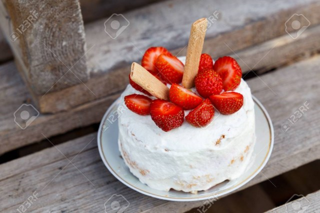 Small Birthday Cakes Small Birthday Cake With Strawberry Decoration Stock Photo Picture