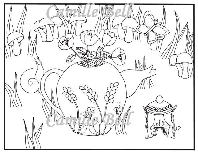 Teapot Coloring Page Fairy Teapot Coloring Page Adult Coloring Page Download Cute Etsy