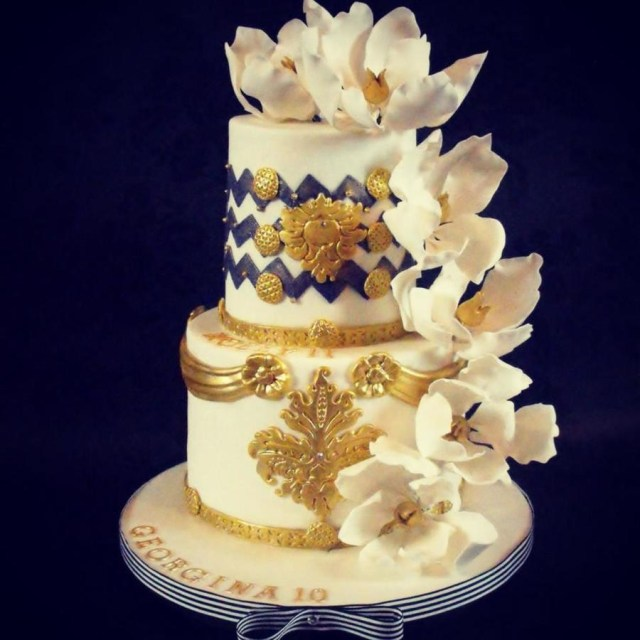 White And Gold Birthday Cake 2 Tier Blue White And Gold Birthday Cake Cakecentral