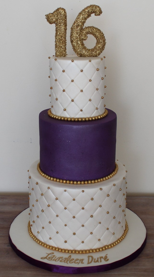 White And Gold Birthday Cake Sweet Sixteen 16 Birthday Cake Elegant Clean Plum Royal Purple And
