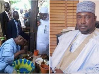 Niger state governor enjoying lunch at mamaput joint in Minna