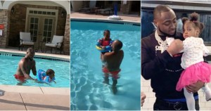 [VIDEO] Davido teaching his 2nd daughter how to swim