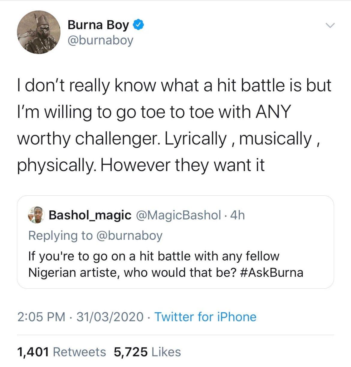 Nigerians roast Burna Boy on Twitter - For threatening fellow artiste life