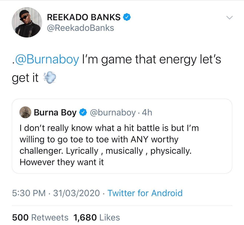 Nigerians roast Burna Boy on Twitter - For threatening fellow artiste