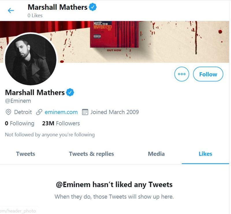 Why Eminem has never liked any Tweet