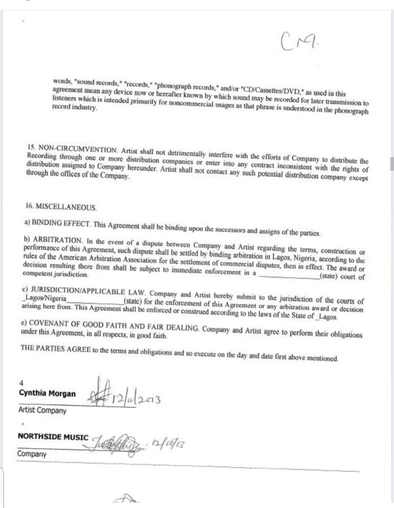 contract between Cynthia Morgan and Jude Okoye
