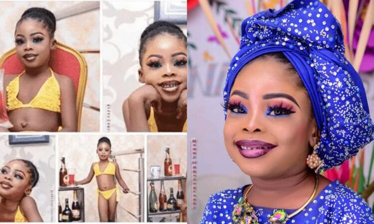 Nigerians blast woman for dressing her 5-yr-old daughter in bikini, makeup for birthday shoot