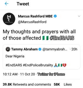 #EndSARS: Chelsea Footballer Of Nigerian Origin Join The Online Protest