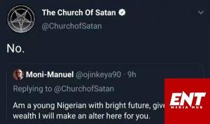 Church Of Satan Replies Nigerian Who Sent Them Wealth Request.