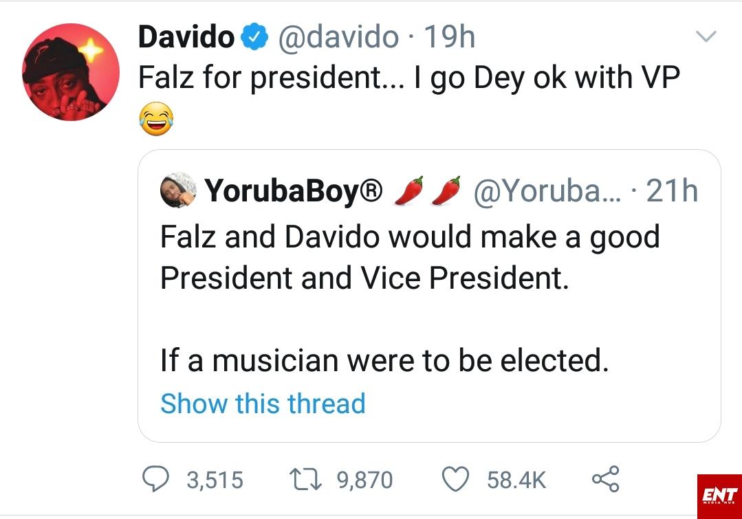 Falz for president Davido VP
