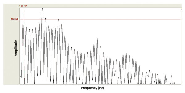 Spectrum of a portion of a highly periodic voice waveform. The first significant peak in the spectrum is often the fundamental frequency (F0—a.k.a. the first harmonic). In this example, the F0 ≈ 110 H