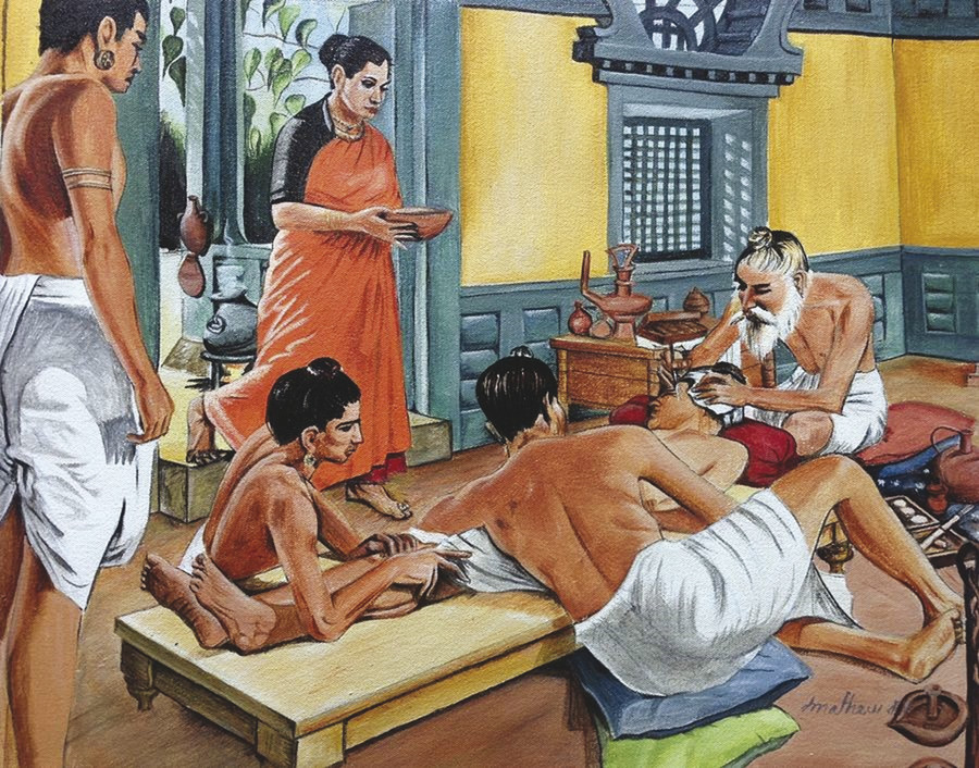 Depiction of Sushruta during his surgeries. (Reproduced with permission from Dr. Babu Thushar.)