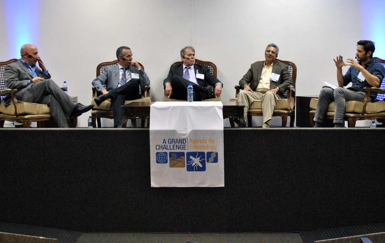 Phil Torres (right) moderates a panel with (from left to right) Chris Stelzig, Luciano Moreira, Grayson Brown, and Mustapha Debboun.