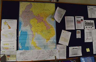 Institut Pasteur du Laos bulletin board