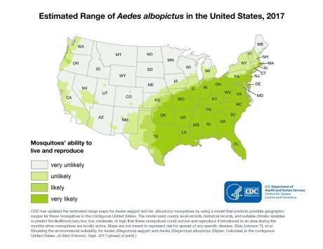 Aedes albopictus estimated range - CDC