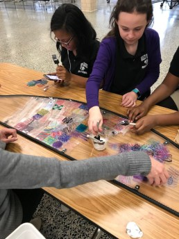 students working on mosquito wing mosaic