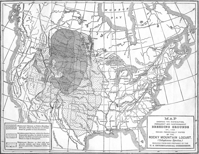 Rocky Mountain locust historic range map