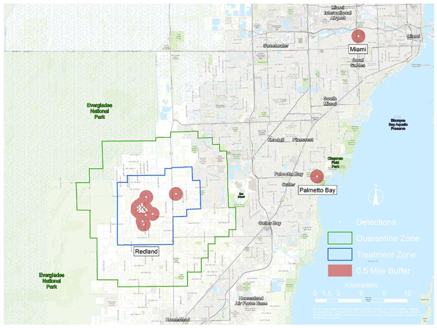 quarantine and treatment area map