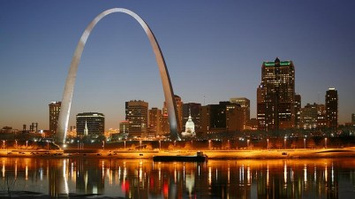 St. Louis on the Mississippi river by night