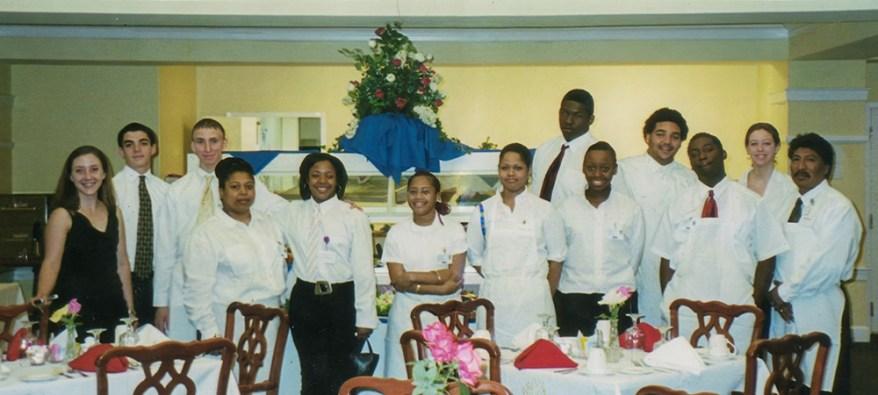 Brooke Bissinger with dining service team
