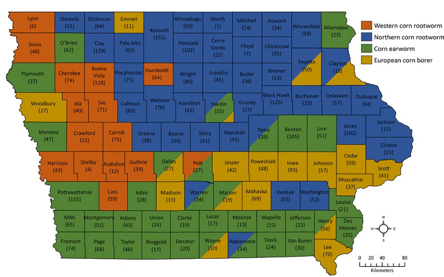 Iowa corn growers insect pest concerns map