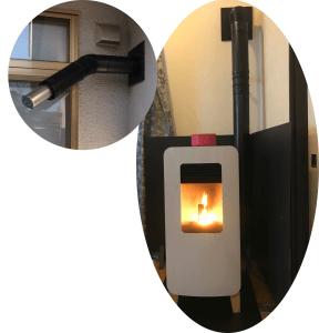 ペレットストーブ施工例(日本製2重排気管)