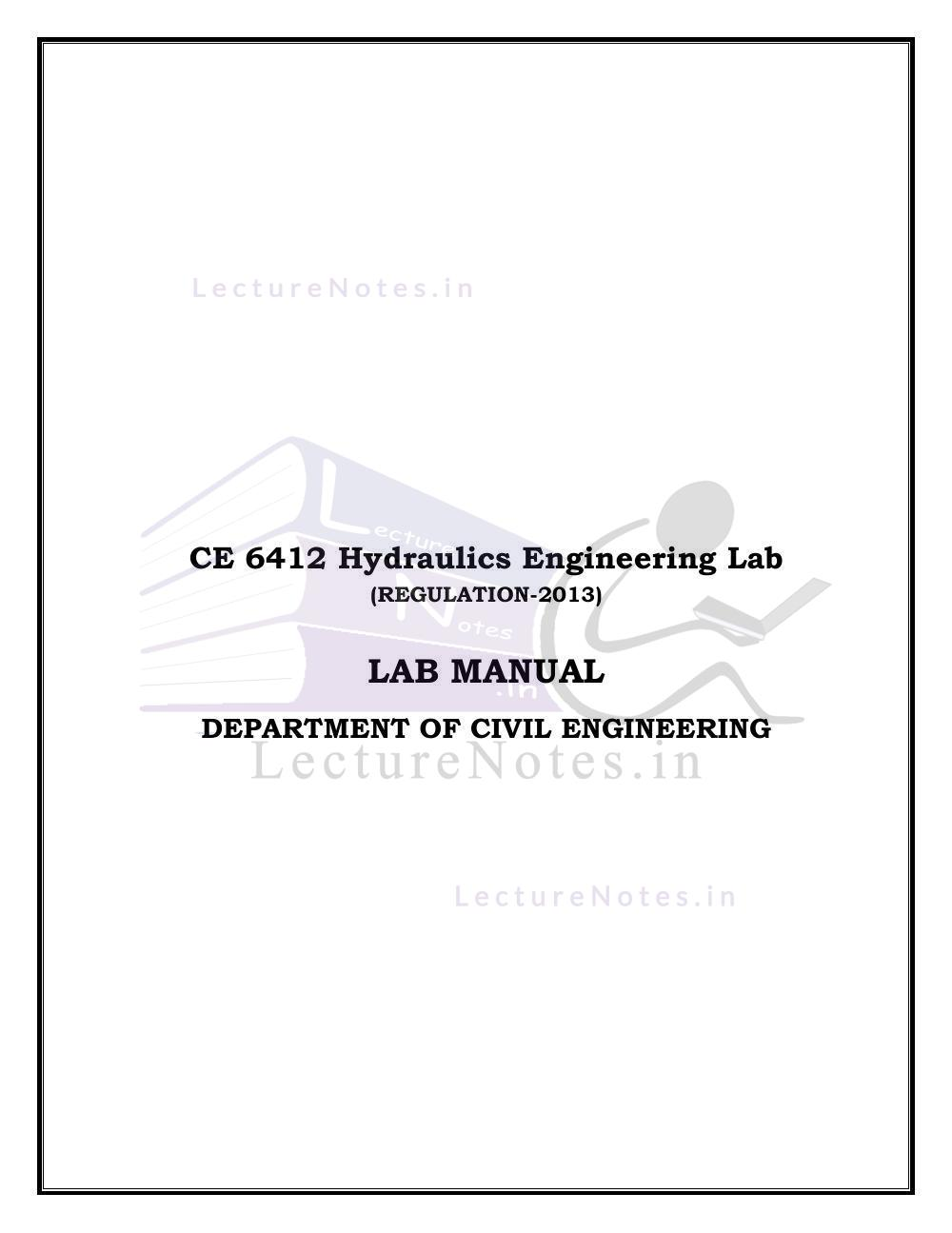 Hydraulics Lab Manual For Civil Engineering