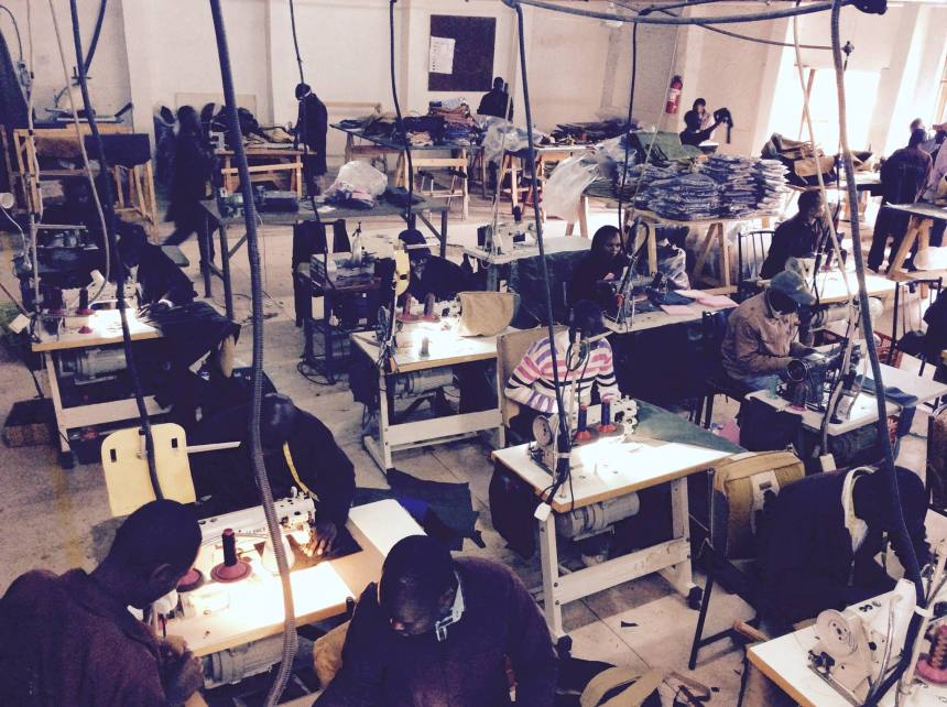 This is inside the leather bag factory in Nairobi...