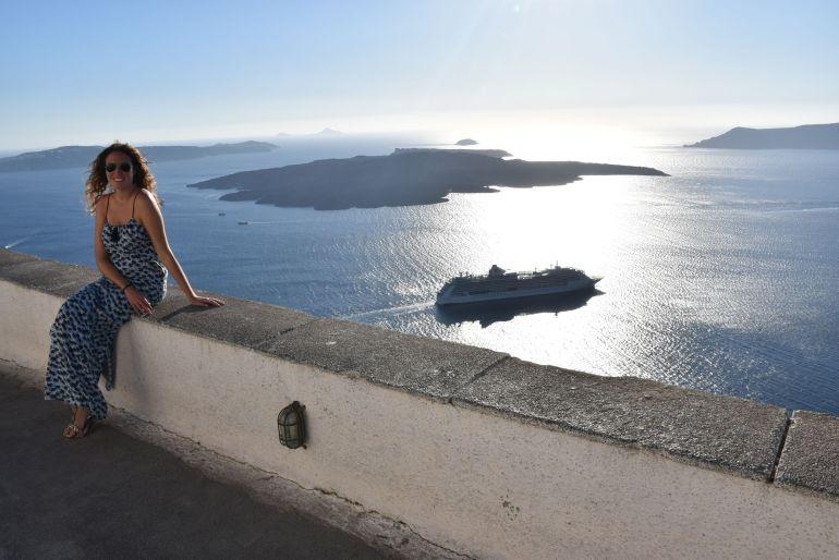La caldera de Santorini desde Fira