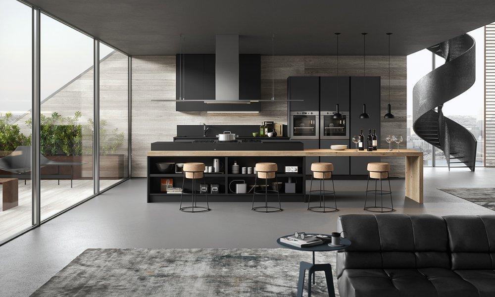 cuisine moderne gris anthracite et bois