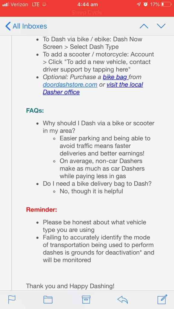 warning from Doordash about using Bike Mode in a car