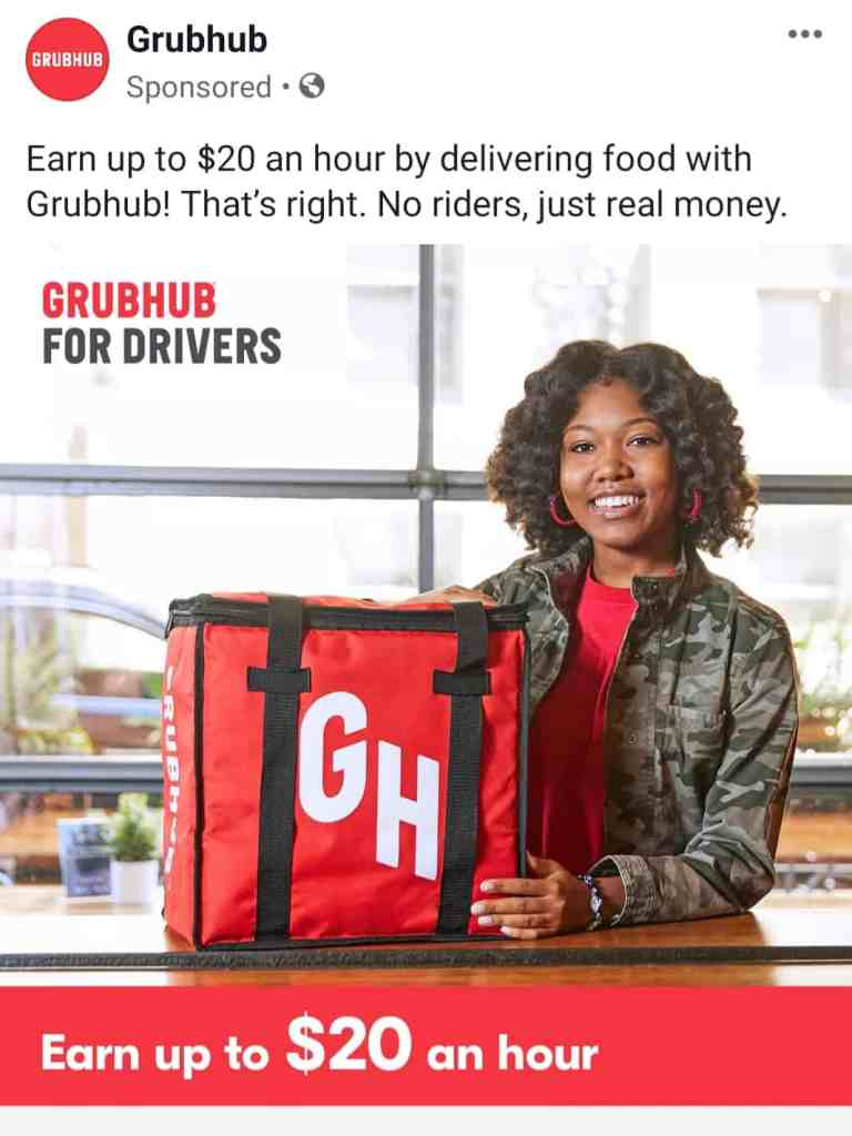 Screenshot of a Grubhub ad that looks a lot more like an employment ad than a business opportunity.