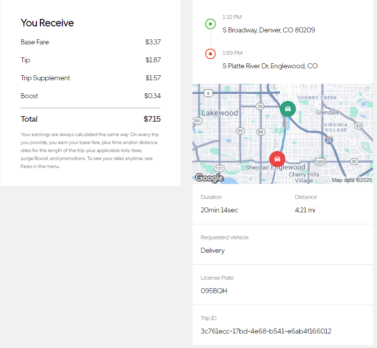 When you drill down into the detail of a delivery in your Uber Eats earnings report, you can see a map and how many miles they calculate from the restaurant to the customer.