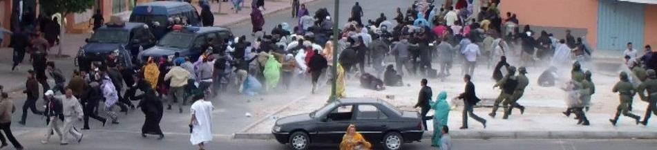 Protesta entre saharauis y agentes marroquíes en el Sahara. / EquipeMedia