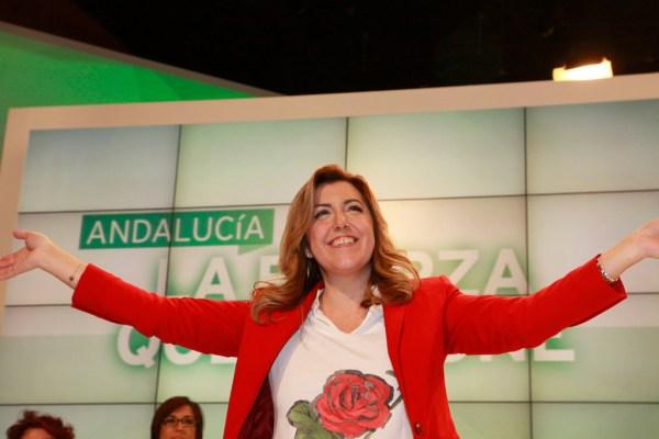 La presidenta de la Junta de Andalucía, Susana Díaz, en un mitin del PSOE. / Oficial