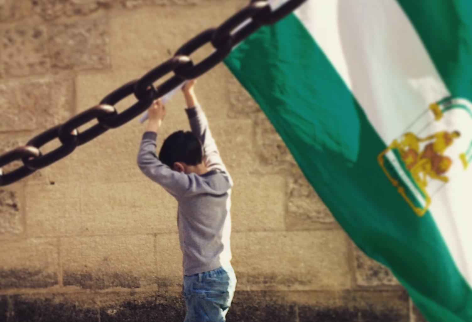 Un niño prota la bandera de Andalucía en una protesta contra el gobierno de Rajoy. / S.R
