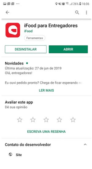 Tela para baixar app do iFood para entregadores