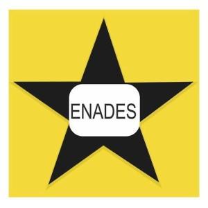 Sobre um fundo amarelo com borda branca há uma estrela preta de cinco pontas. Ao centro, um retângulo branco, cujos lados direito e esquerdo são abaulados. Nele, em letras pretas maiúsculas: ENADES.